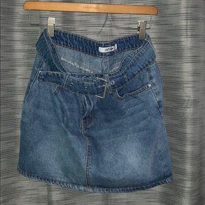 Refuge (Charlotte Russe) Medium Wash Jean Skirt